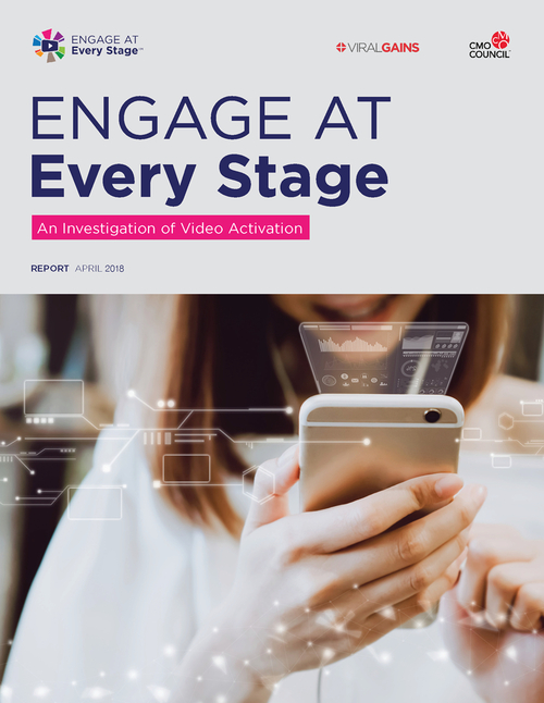 Report cover for Engage at Every Stage: An Investigation of Video Activation featuring a girl looking at a video on her phone